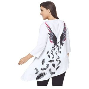 Tops - Plus Size Angel Wing Tunic Cardigan